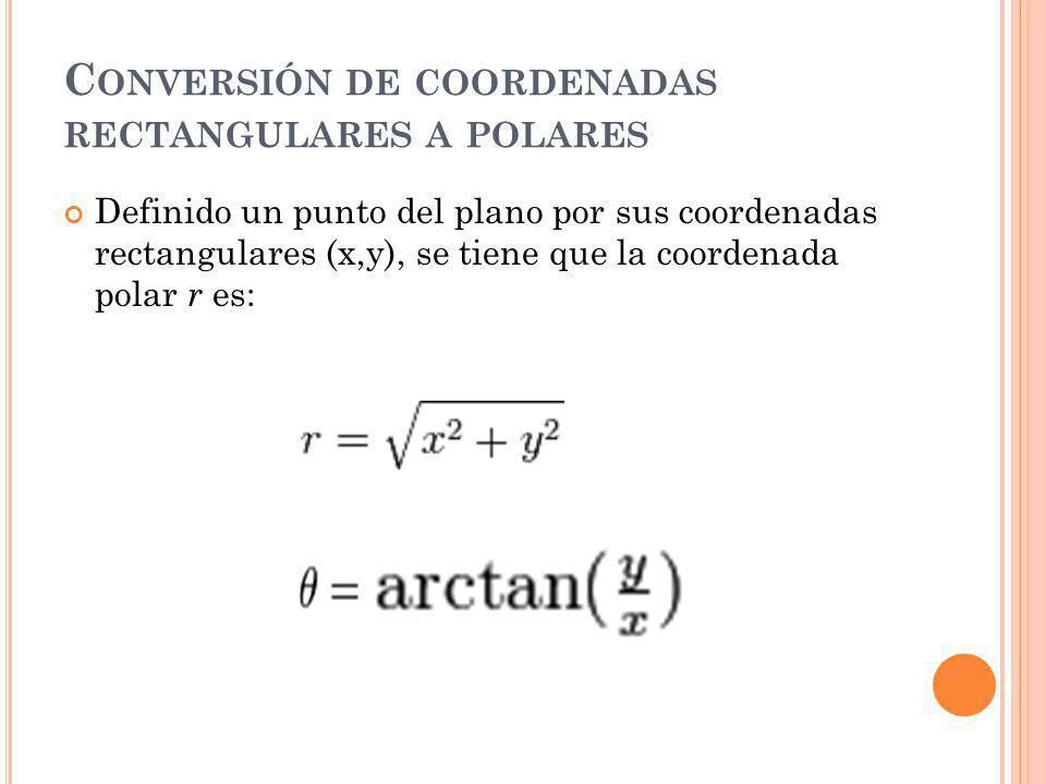 Conversión de coordenadas rectangulares a polares