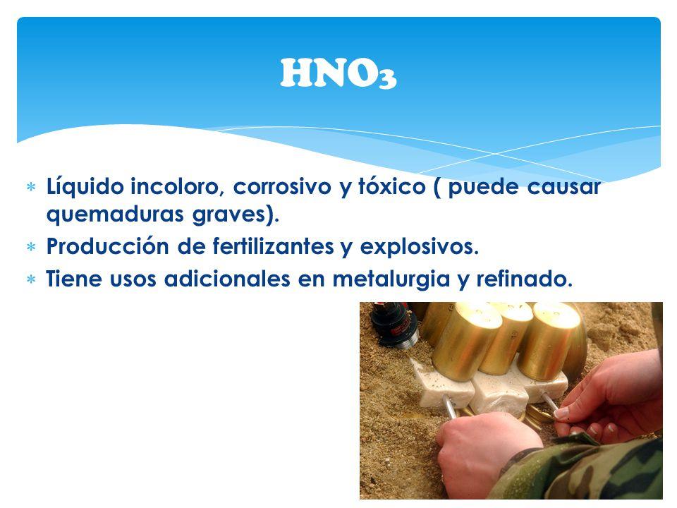 HNO3 Líquido incoloro, corrosivo y tóxico ( puede causar quemaduras graves). Producción de fertilizantes y explosivos.