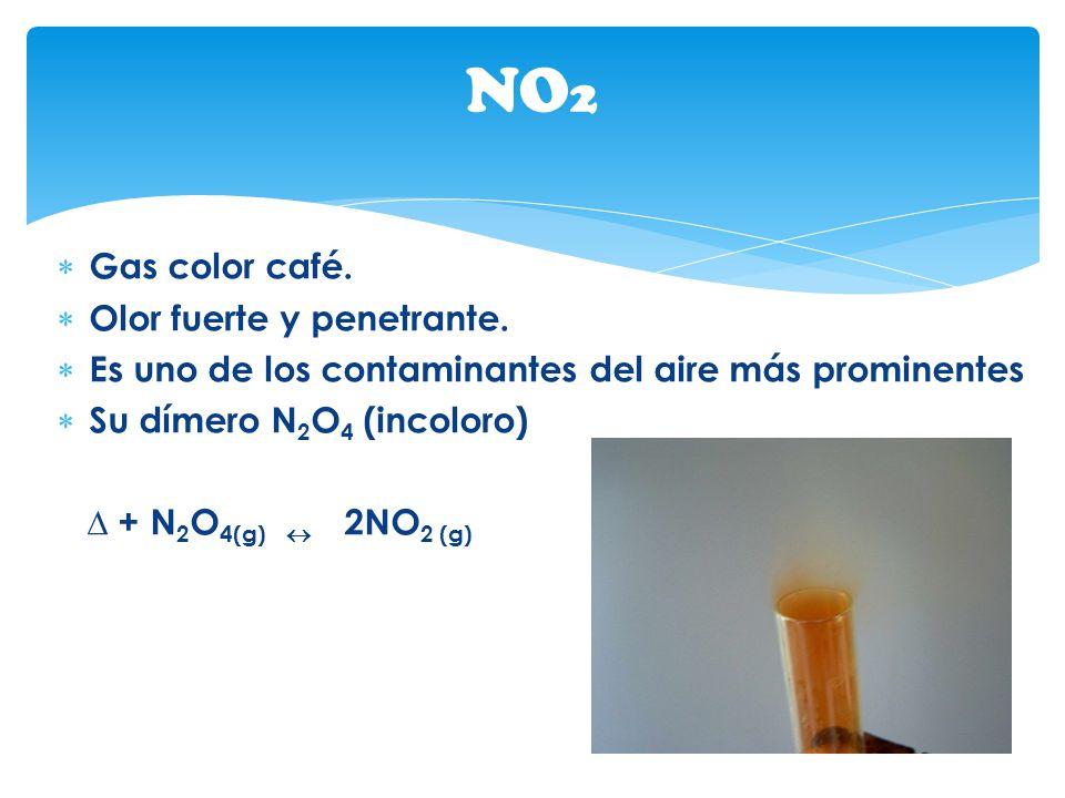 NO2 Gas color café. Olor fuerte y penetrante.