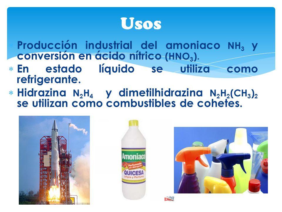 Usos Producción industrial del amoniaco NH3 y conversión en ácido nítrico (HNO3). En estado líquido se utiliza como refrigerante.