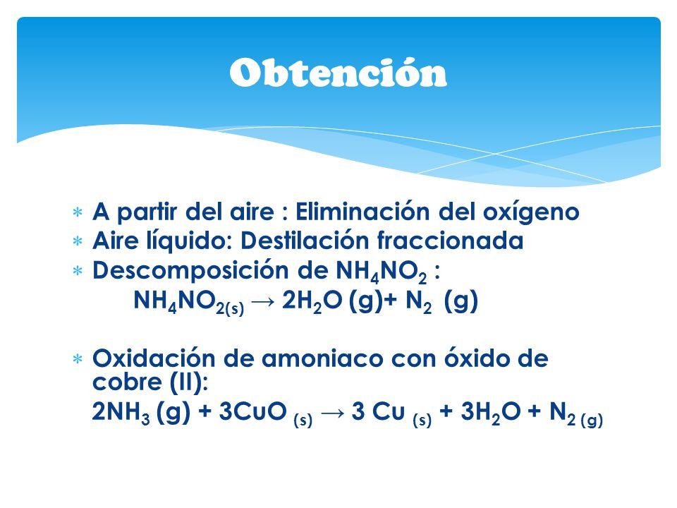 Obtención A partir del aire : Eliminación del oxígeno