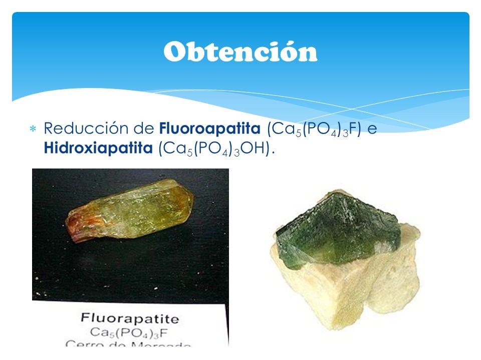 Obtención Reducción de Fluoroapatita (Ca5(PO4)3F) e Hidroxiapatita (Ca5(PO4)3OH).