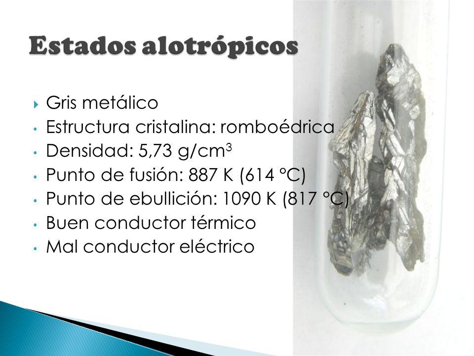 Estados alotrópicos Gris metálico Estructura cristalina: romboédrica