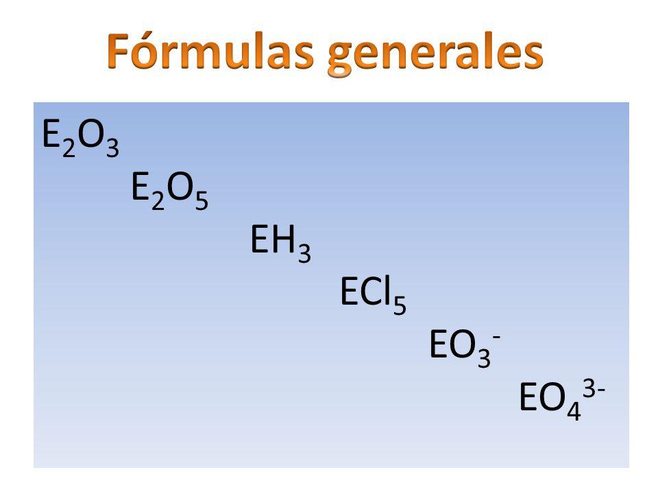 Fórmulas generales E2O3 E2O5 EH3 ECl5 EO3- EO43-