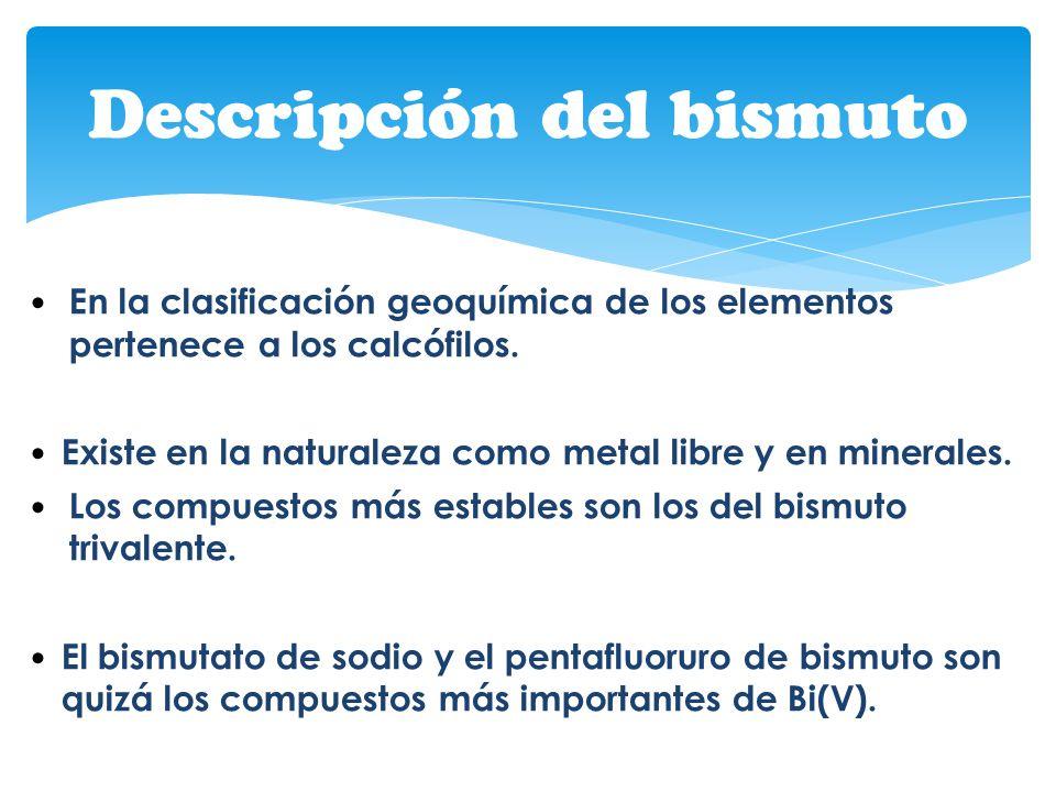 Descripción del bismuto