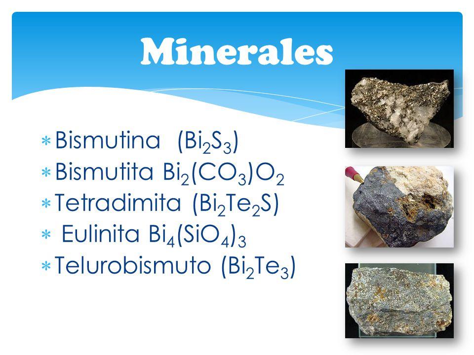 Minerales Bismutina (Bi2S3) Bismutita Bi2(CO3)O2 Tetradimita (Bi2Te2S)