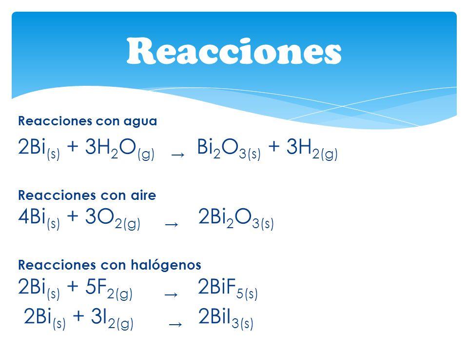 Reacciones 2Bi(s) + 3H2O(g) → Bi2O3(s) + 3H2(g) Reacciones con aire