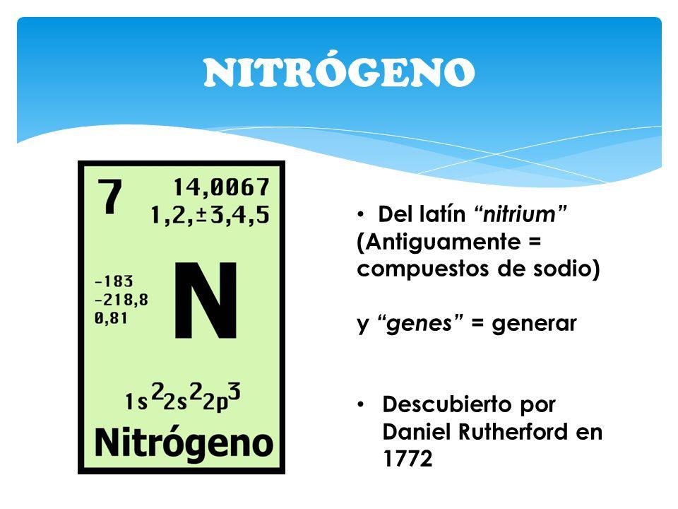 NITRÓGENO Del latín nitrium (Antiguamente = compuestos de sodio)