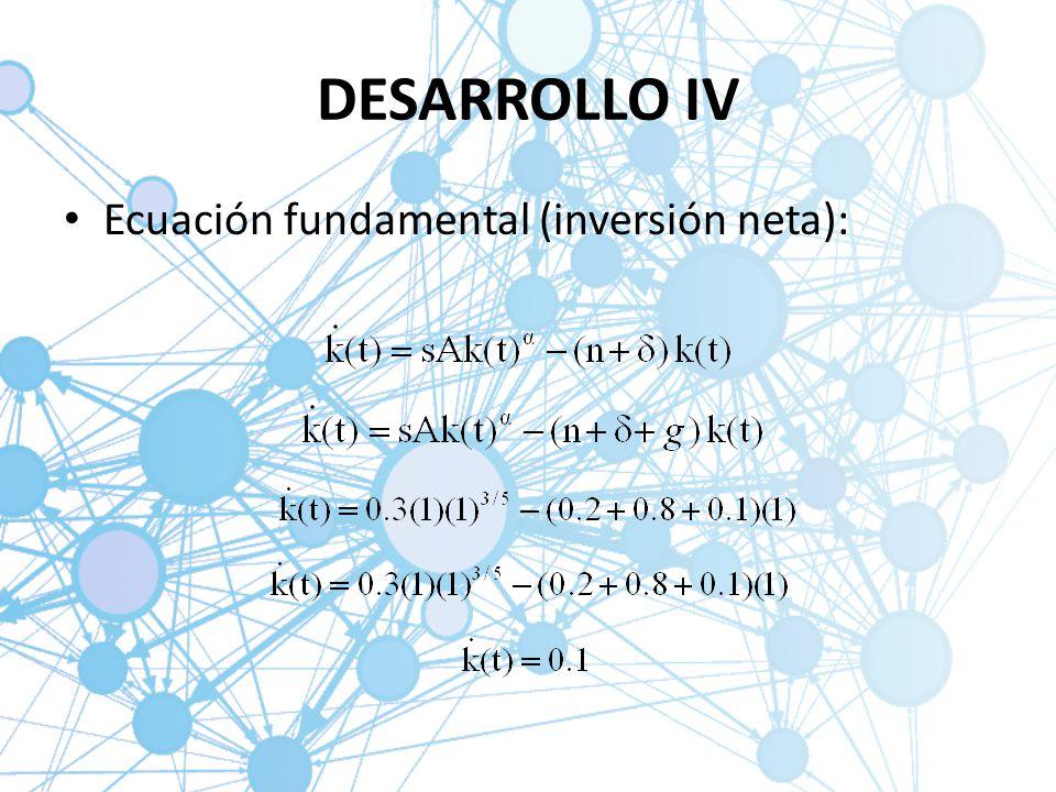 DESARROLLO IV Ecuación fundamental (inversión neta):