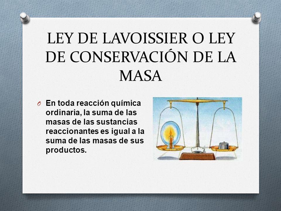 LEY DE LAVOISSIER O LEY DE CONSERVACIÓN DE LA MASA