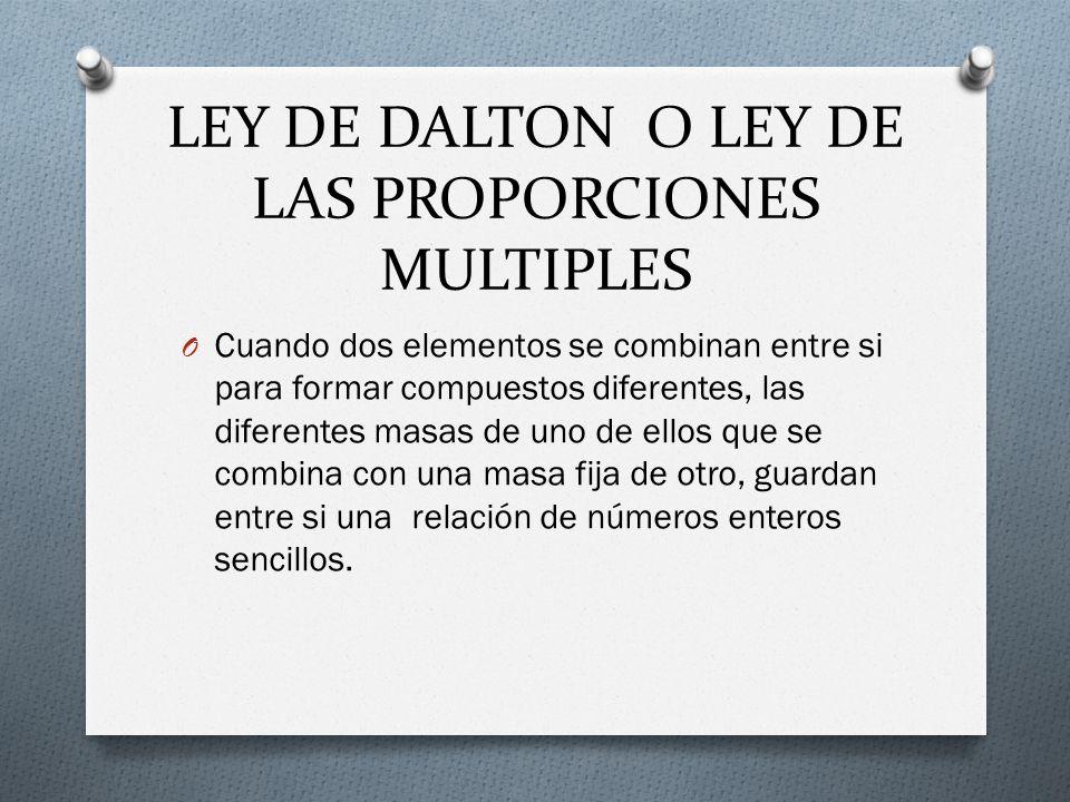 LEY DE DALTON O LEY DE LAS PROPORCIONES MULTIPLES