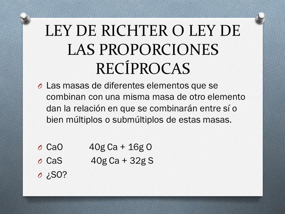 LEY DE RICHTER O LEY DE LAS PROPORCIONES RECÍPROCAS