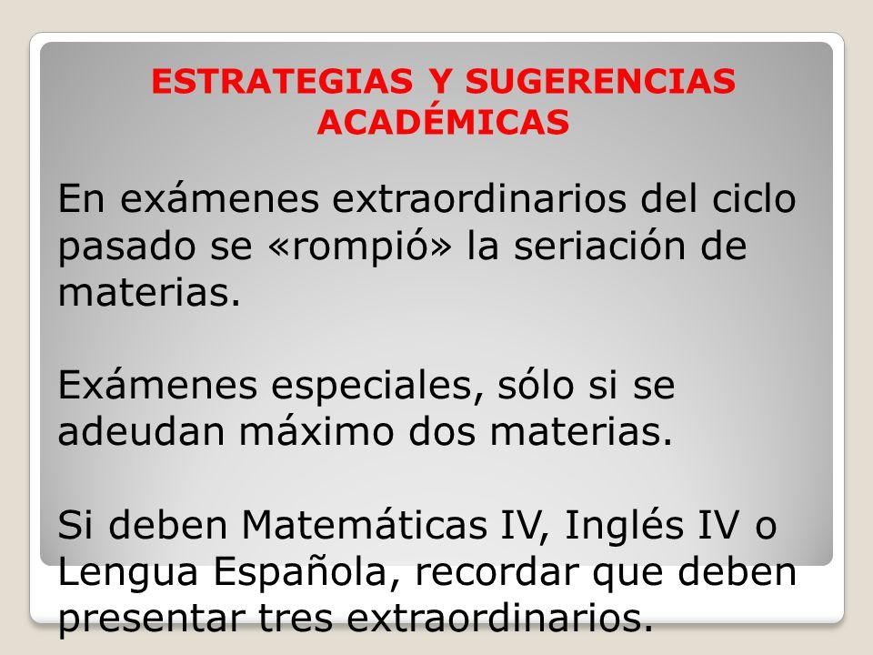 ESTRATEGIAS Y SUGERENCIAS ACADÉMICAS