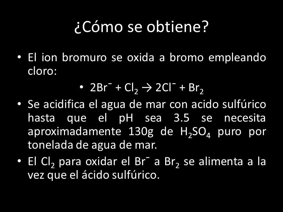 ¿Cómo se obtiene El ion bromuro se oxida a bromo empleando cloro: