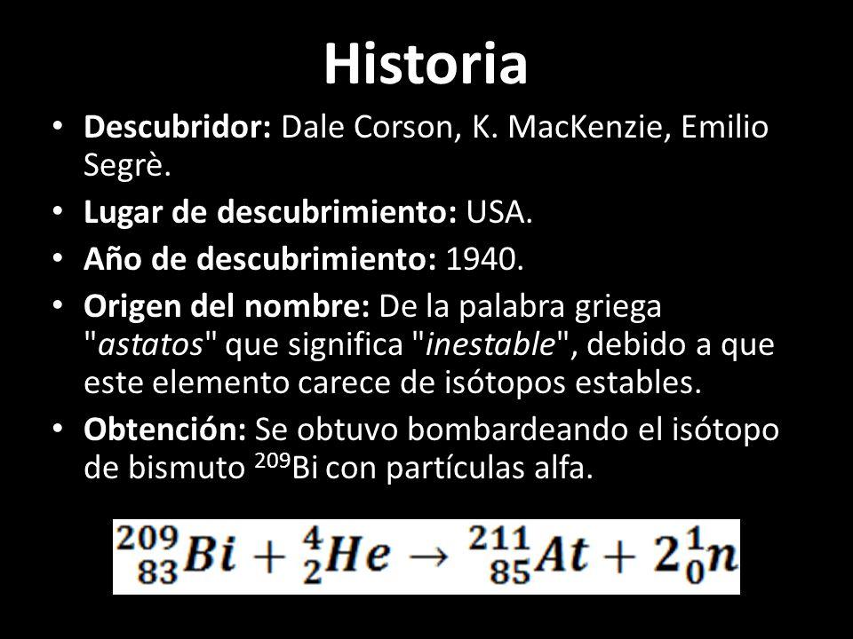 Historia Descubridor: Dale Corson, K. MacKenzie, Emilio Segrè.