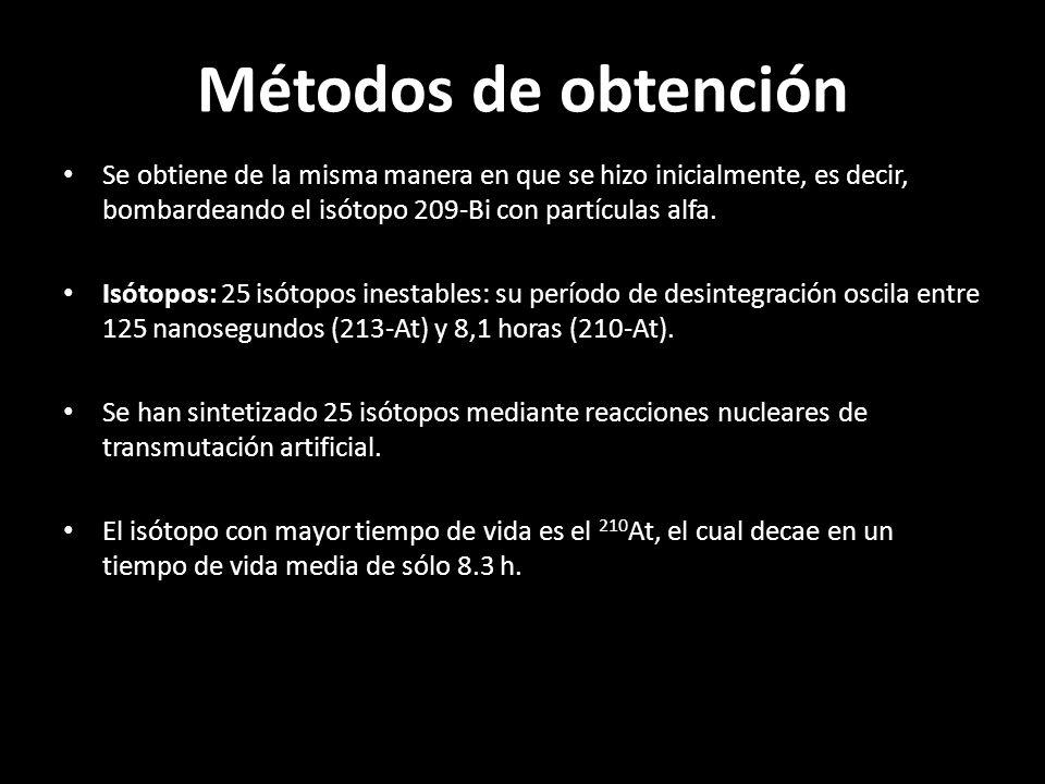 Métodos de obtención Se obtiene de la misma manera en que se hizo inicialmente, es decir, bombardeando el isótopo 209-Bi con partículas alfa.