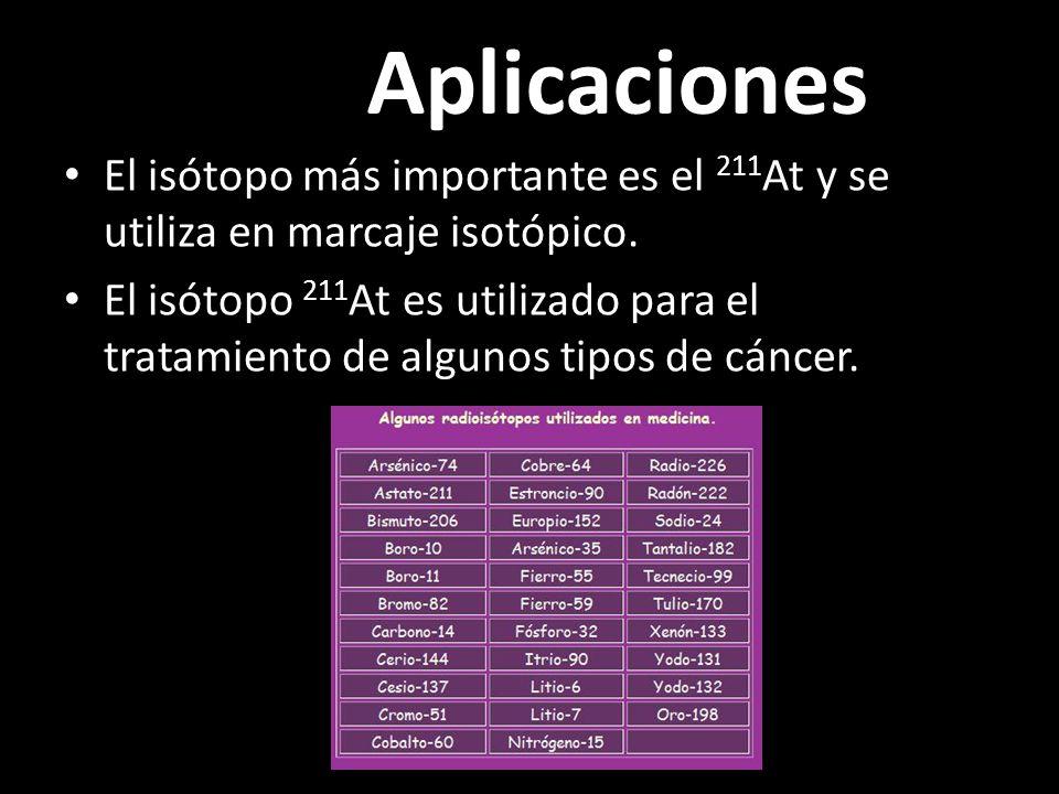 Aplicaciones El isótopo más importante es el 211At y se utiliza en marcaje isotópico.