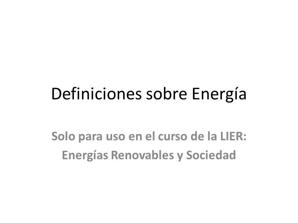 Definiciones sobre Energía