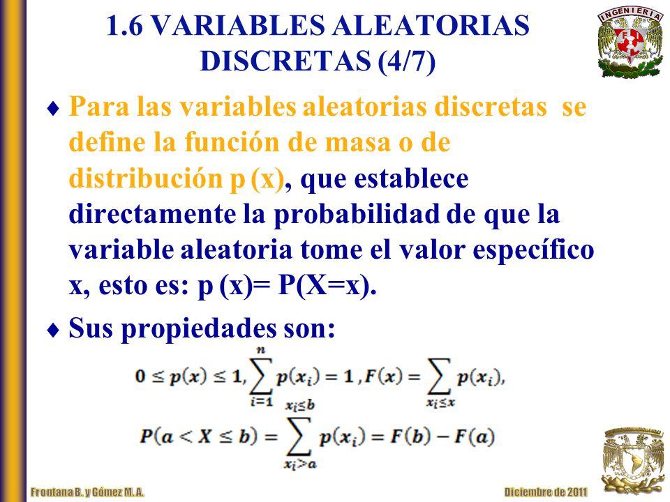 1.6 VARIABLES ALEATORIAS DISCRETAS (4/7)