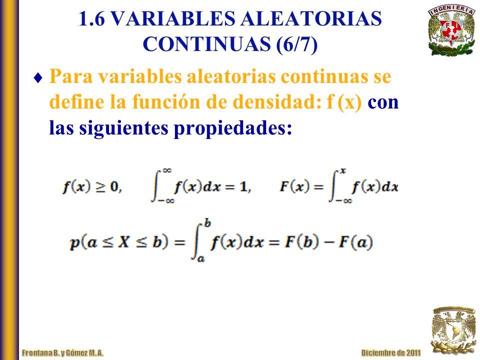 1.6 VARIABLES ALEATORIAS CONTINUAS (6/7)