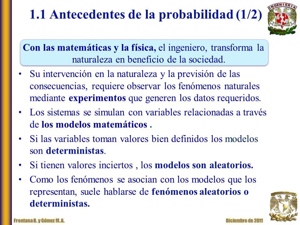 1.1 Antecedentes de la probabilidad (1/2)