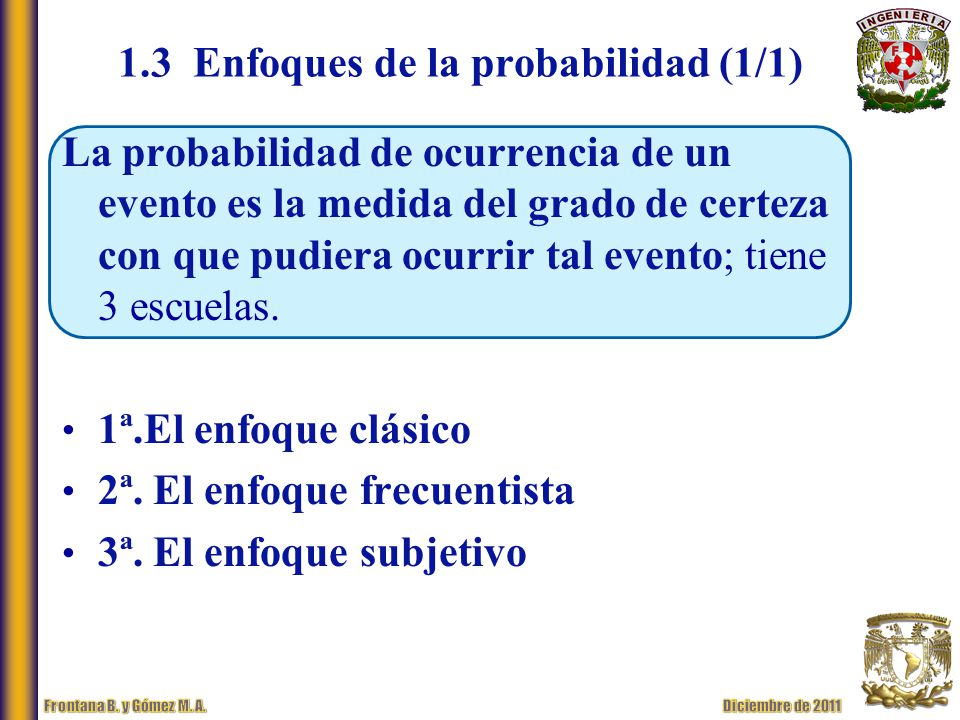 1.3 Enfoques de la probabilidad (1/1)