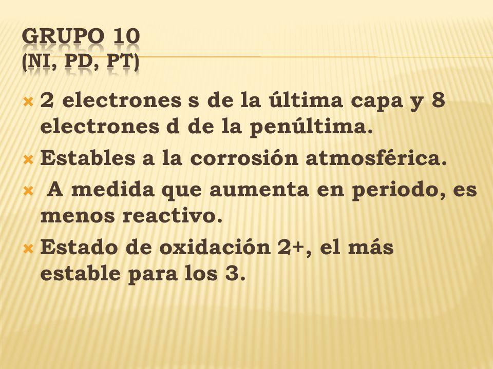 Grupo 10 (Ni, Pd, Pt) 2 electrones s de la última capa y 8 electrones d de la penúltima. Estables a la corrosión atmosférica.