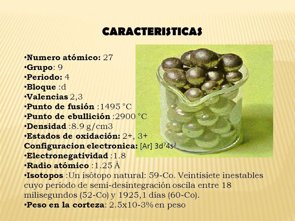 CARACTERISTICAS Numero atómico: 27 Grupo: 9 Periodo: 4 Bloque :d