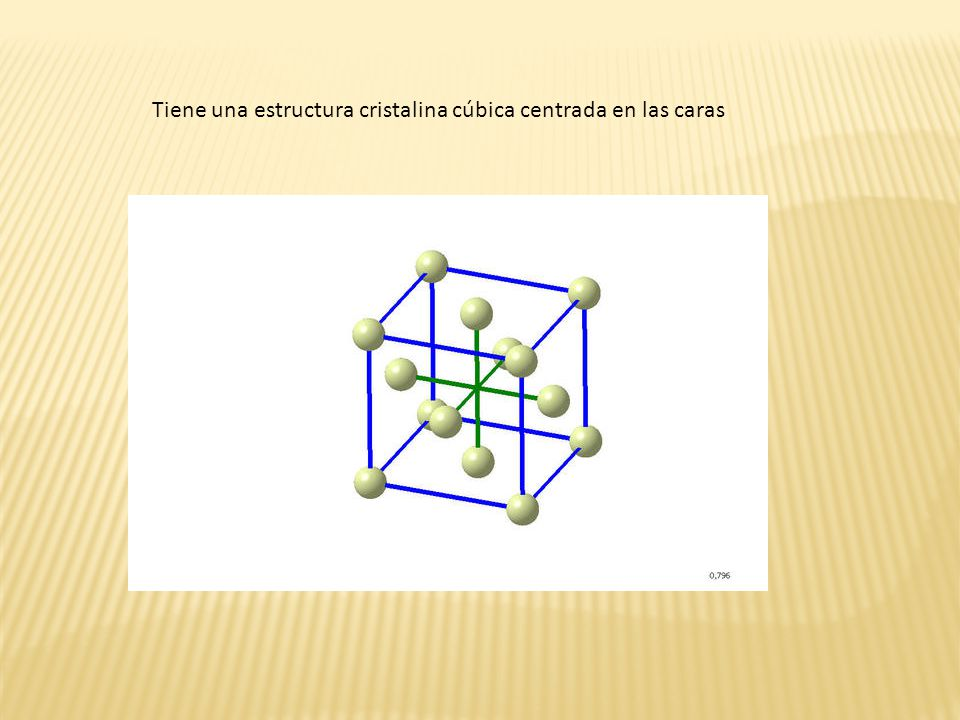 Tiene una estructura cristalina cúbica centrada en las caras