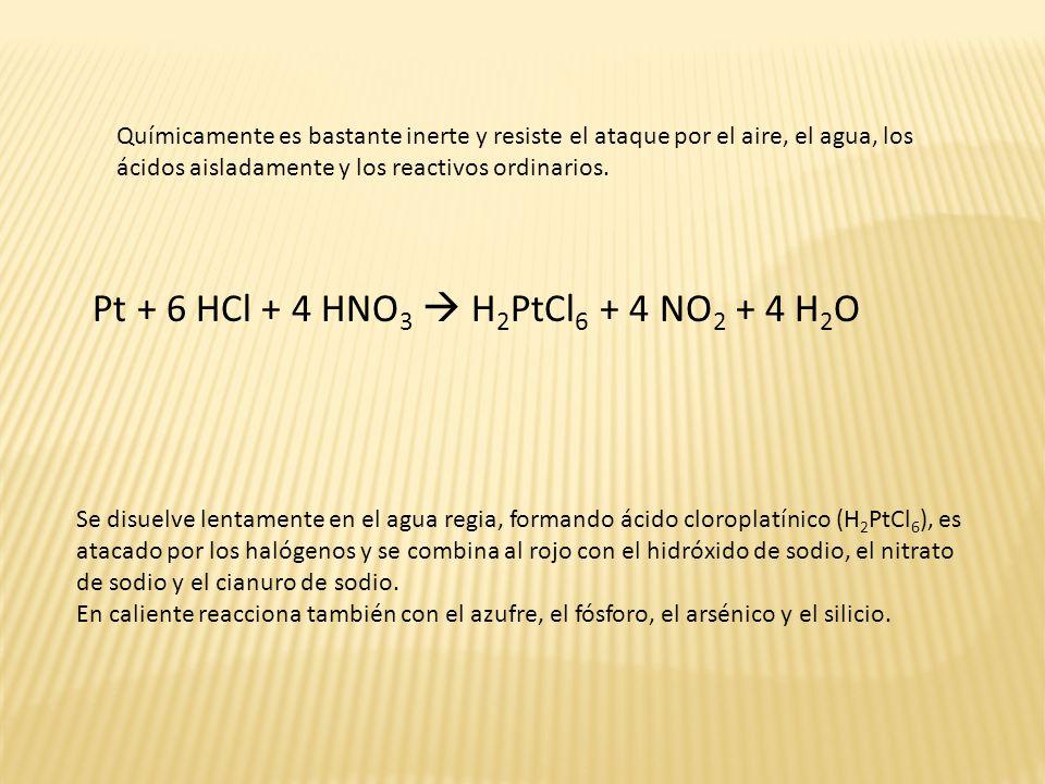 Pt + 6 HCl + 4 HNO3  H2PtCl6 + 4 NO2 + 4 H2O