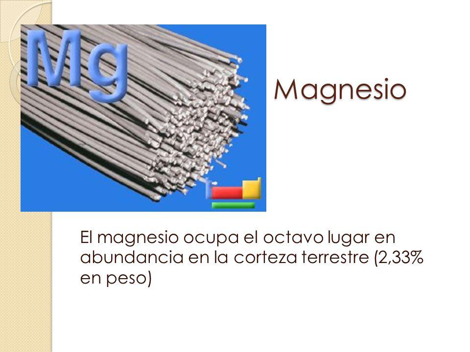 Magnesio El magnesio ocupa el octavo lugar en abundancia en la corteza terrestre (2,33% en peso)