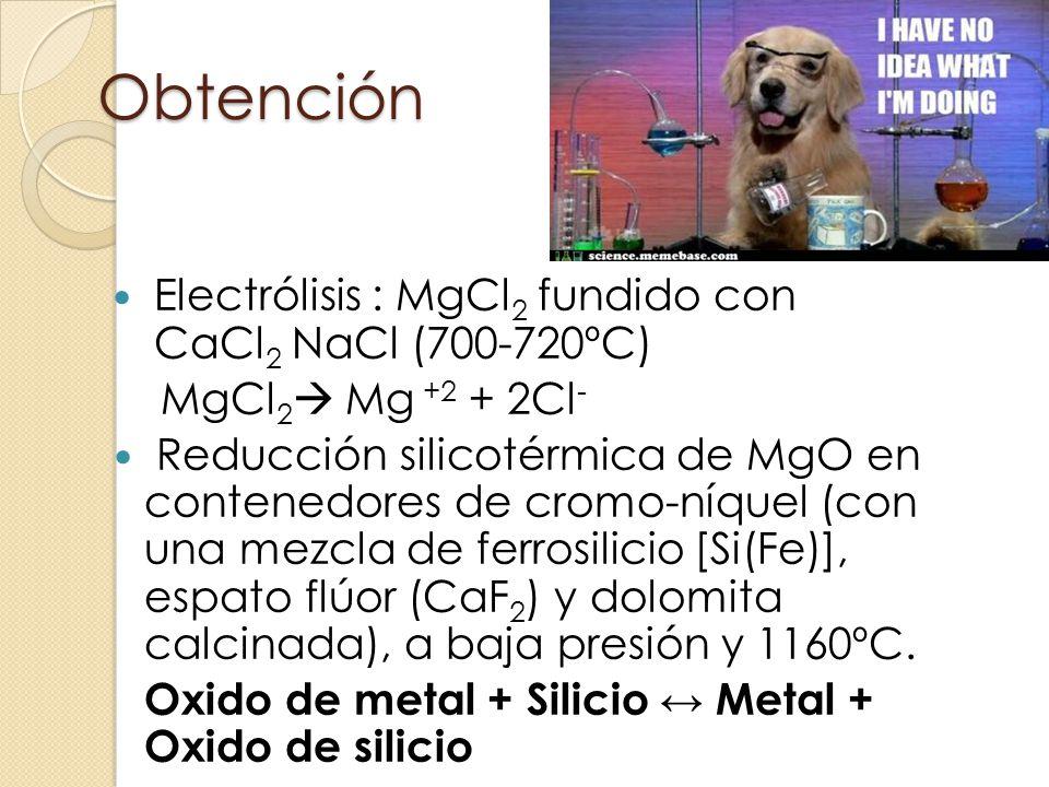 Obtención Electrólisis : MgCl2 fundido con CaCl2 NaCl (700-720ºC)