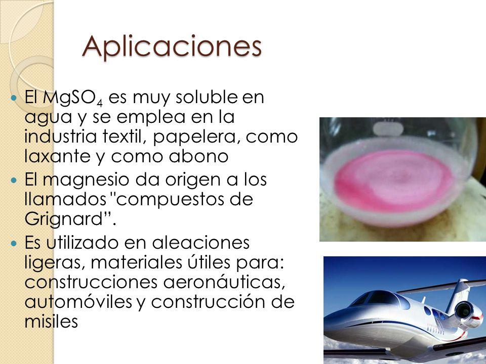 Aplicaciones El MgSO4 es muy soluble en agua y se emplea en la industria textil, papelera, como laxante y como abono.