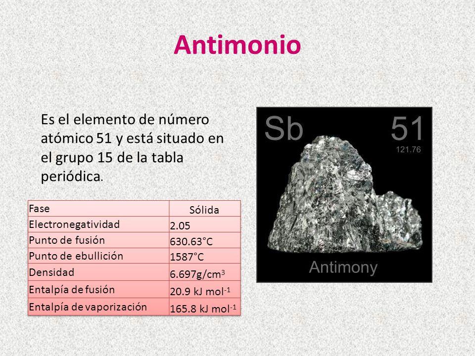 Antimonio Es el elemento de número atómico 51 y está situado en el grupo 15 de la tabla periódica. Propiedades.