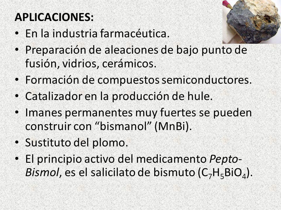 APLICACIONES: En la industria farmacéutica. Preparación de aleaciones de bajo punto de fusión, vidrios, cerámicos.