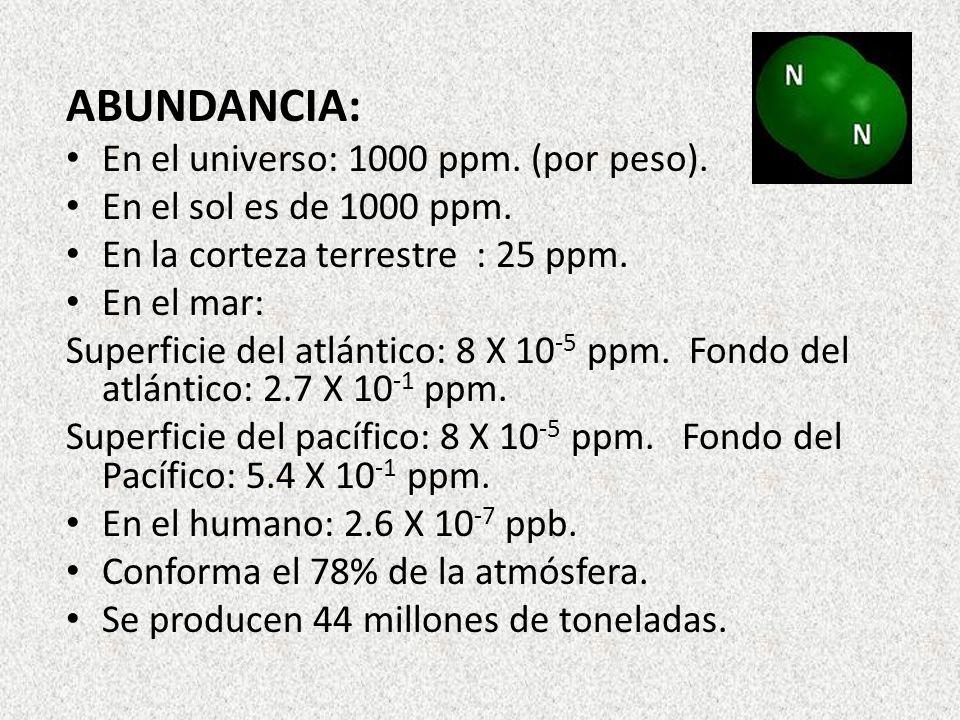 ABUNDANCIA: En el universo: 1000 ppm. (por peso).