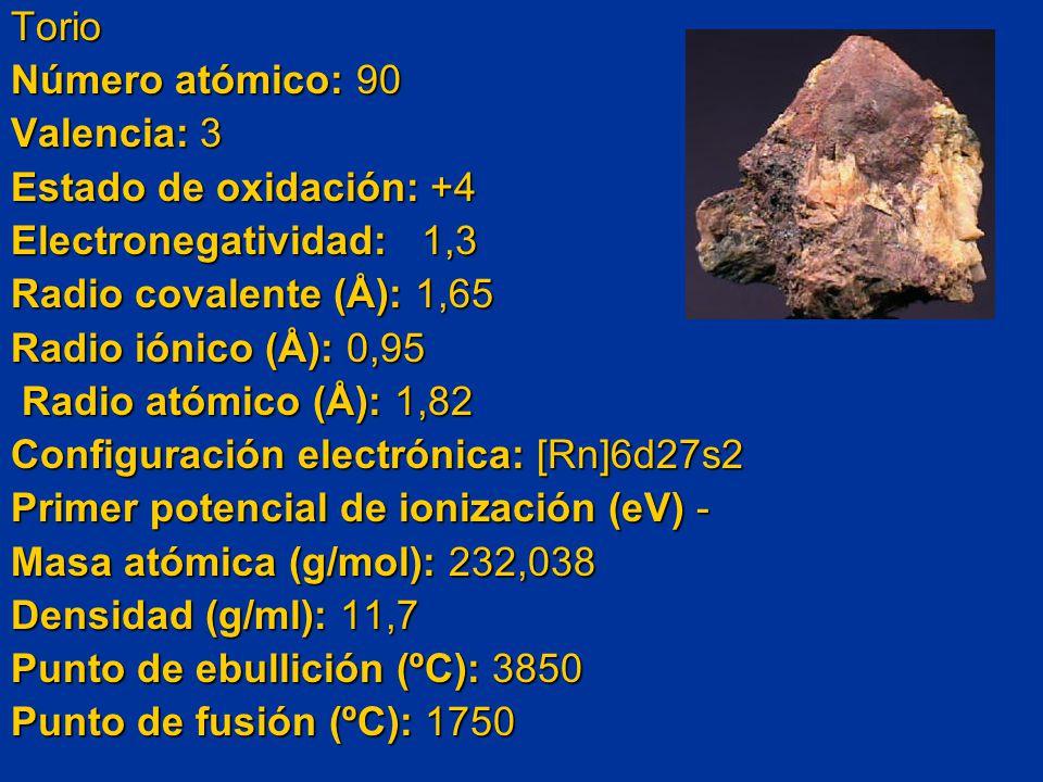 Torio Número atómico: 90 Valencia: 3 Estado de oxidación: +4 Electronegatividad: 1,3 Radio covalente (Å): 1,65