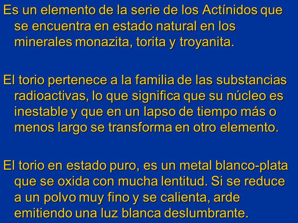 Es un elemento de la serie de los Actínidos que se encuentra en estado natural en los minerales monazita, torita y troyanita.