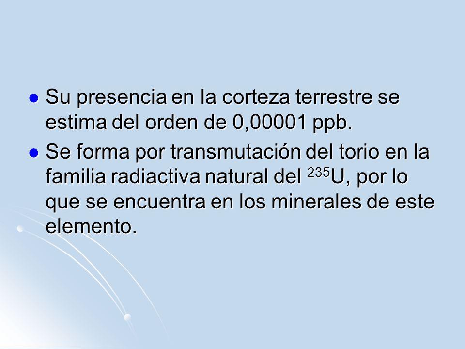 Su presencia en la corteza terrestre se estima del orden de 0,00001 ppb.
