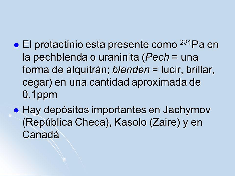 El protactinio esta presente como 231Pa en la pechblenda o uraninita (Pech = una forma de alquitrán; blenden = lucir, brillar, cegar) en una cantidad aproximada de 0.1ppm