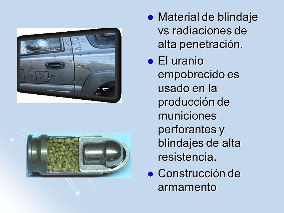 Material de blindaje vs radiaciones de alta penetración.