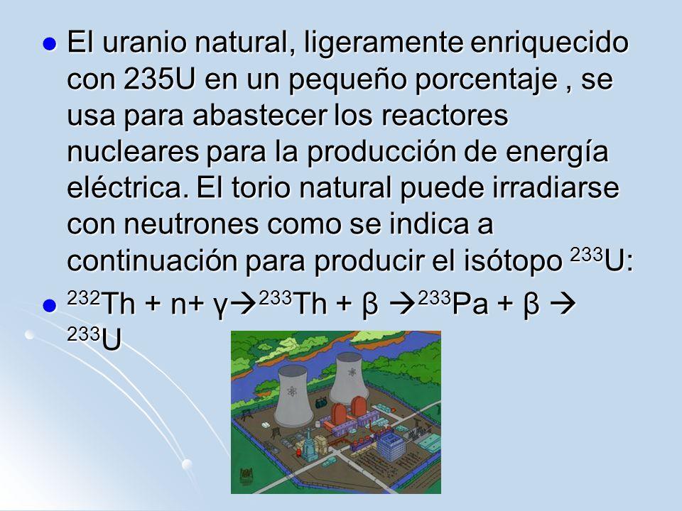 El uranio natural, ligeramente enriquecido con 235U en un pequeño porcentaje , se usa para abastecer los reactores nucleares para la producción de energía eléctrica. El torio natural puede irradiarse con neutrones como se indica a continuación para producir el isótopo 233U: