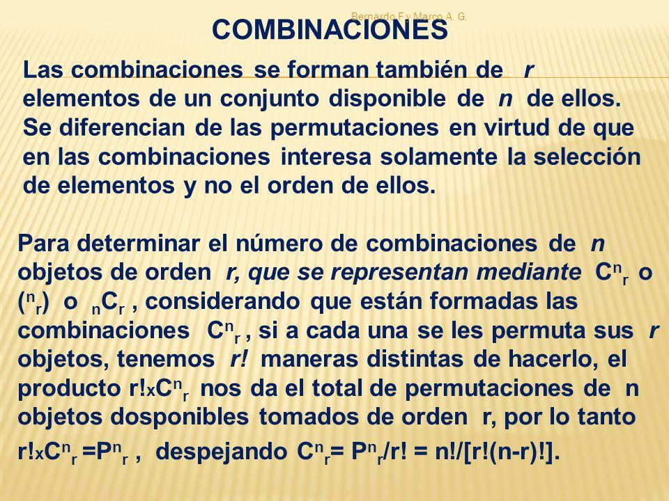 COMBINACIONES Bernardo F y Marco A. G.