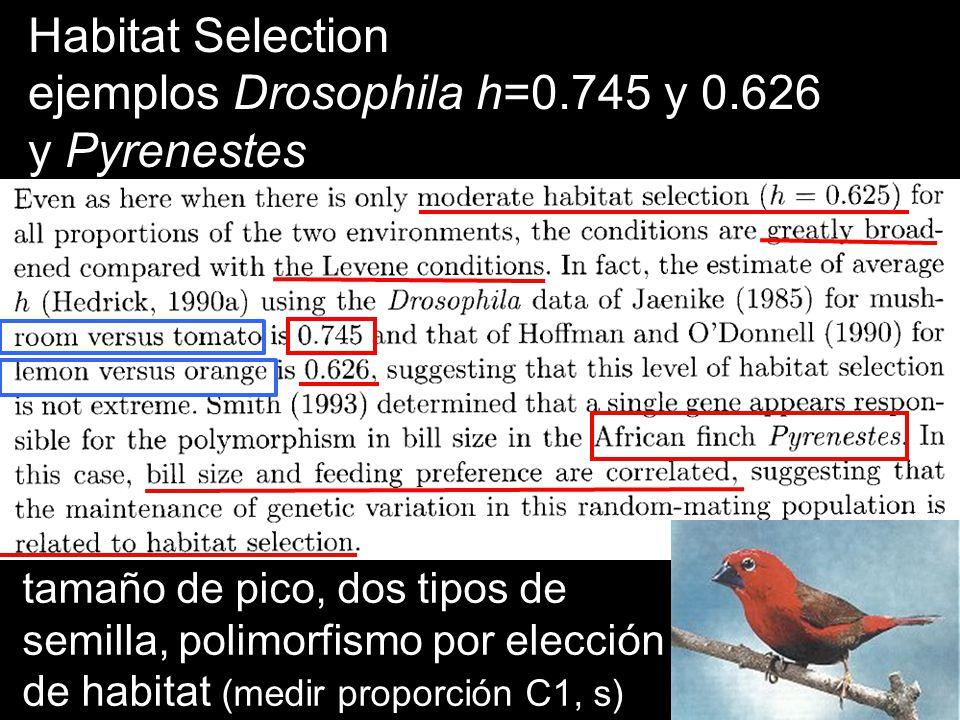 ejemplos Drosophila h=0.745 y 0.626 y Pyrenestes