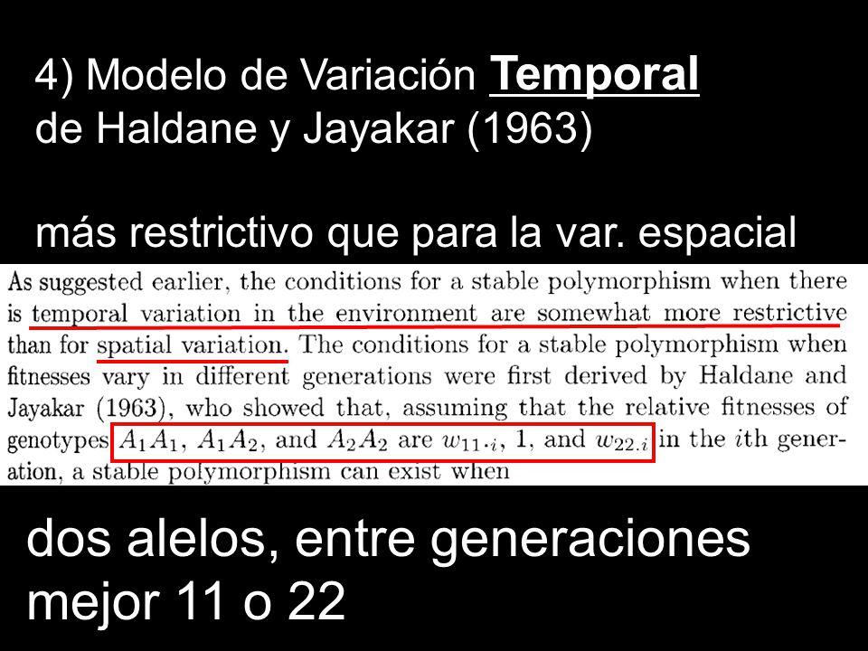 dos alelos, entre generaciones mejor 11 o 22