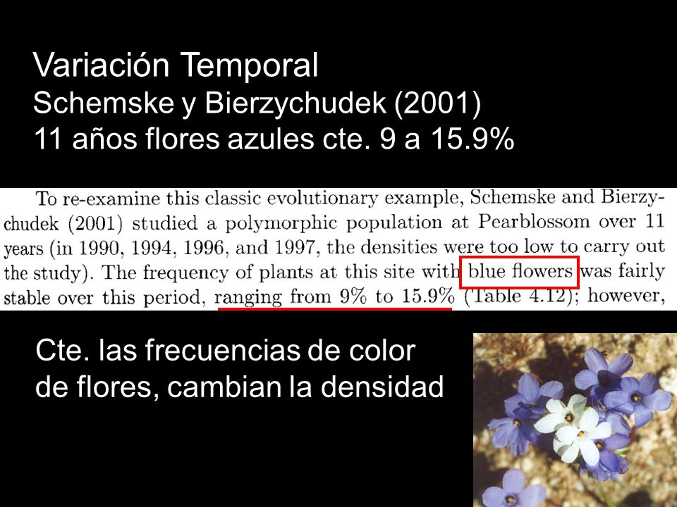 Variación Temporal Schemske y Bierzychudek (2001)