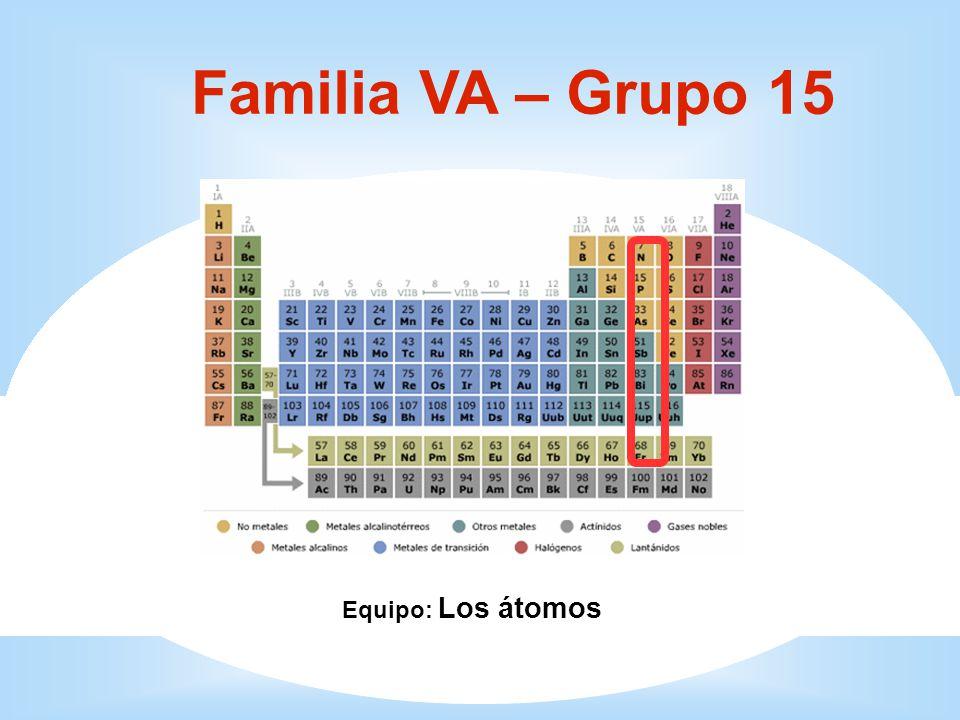 1 Familia VA – Grupo 15 Equipo: Los átomos