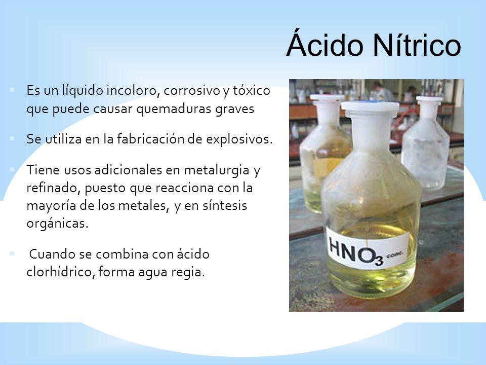 1919 Ácido Nítrico. Es un líquido incoloro, corrosivo y tóxico que puede causar quemaduras graves.