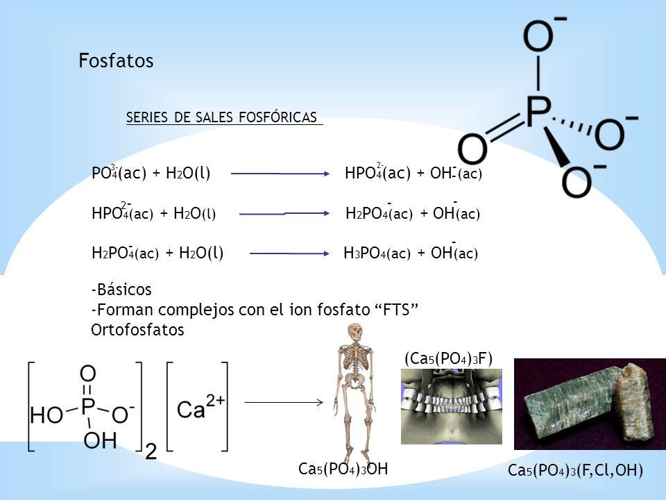 Fosfatos - PO4(ac) + H2O(l) HPO4(ac) + OH (ac) -