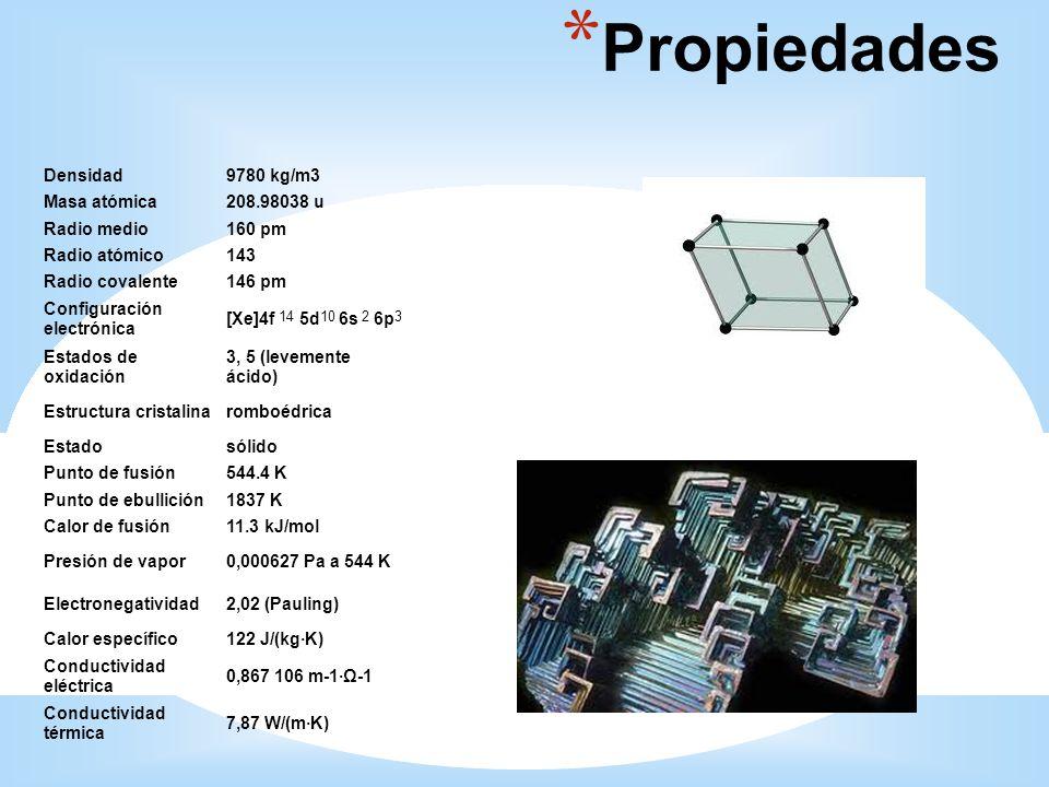 Propiedades Densidad 9780 kg/m3 Masa atómica 208.98038 u Radio medio